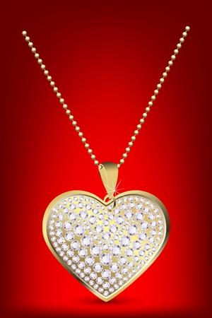 medaglione: illustrazione del medaglione cuore con cahin su sfondo bianco isolato