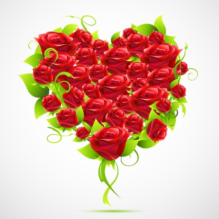 amour: illustration of valentine card with heart made of roses on abstract background