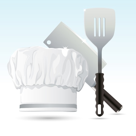 chefs cooking: illustration of chef hat with cooking knife and spatula