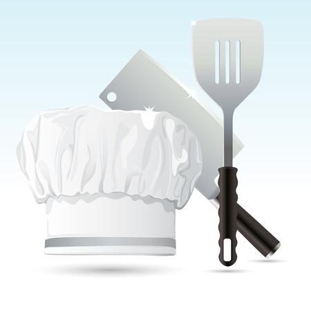 gorro chef: Ilustraci�n de sombrero de cocinero con cuchillo de cocina con esp�tula