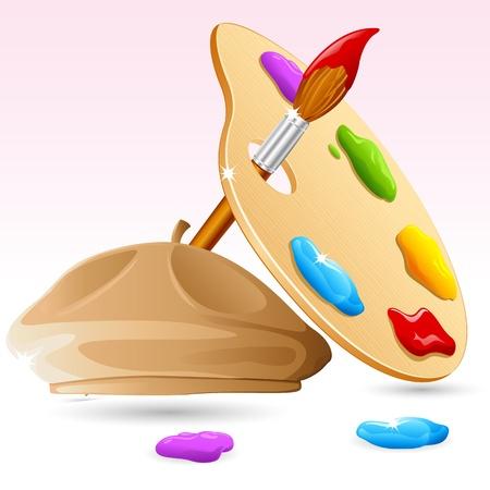 palet: Ilustraci�n del pincel, paletas de Color con tapa de pintor