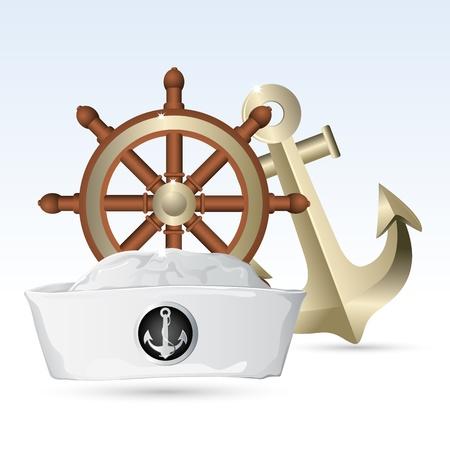 capitano: illustrazione del cappello di marinaio con volante e ancoraggio Vettoriali