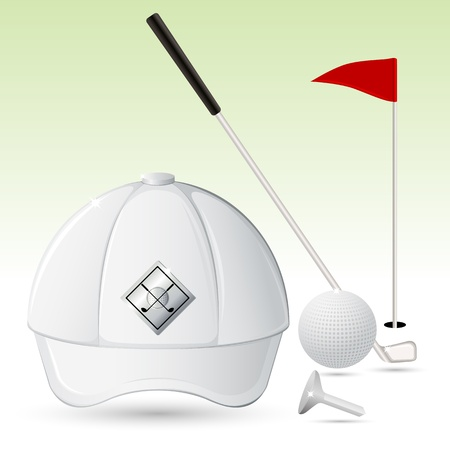 illustration of golf cao with golf stick and golf ball