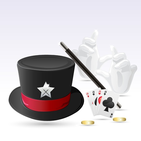 magic trick: illustration of magic hat with magic wand, hand and cards
