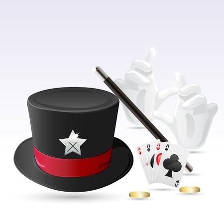 hat trick: illustrazione del cappello magico con la bacchetta magica, mano e carte Vettoriali