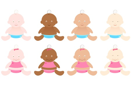 black baby boy: illustration of baby boy nad baby girl from different races on isolated background Illustration