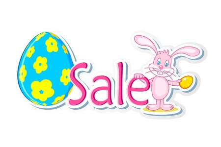 illustration of bunny holding easter egg and sale tag Vector