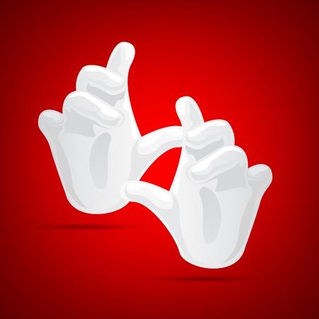 mago: Ilustraci�n de mano m�gica con guantes sobre fondo rojo abstracto