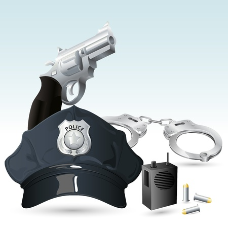 cuffs: illustration of police cap with handcuff and gun
