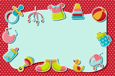illustration of set of item related to baby on abstract background Vector