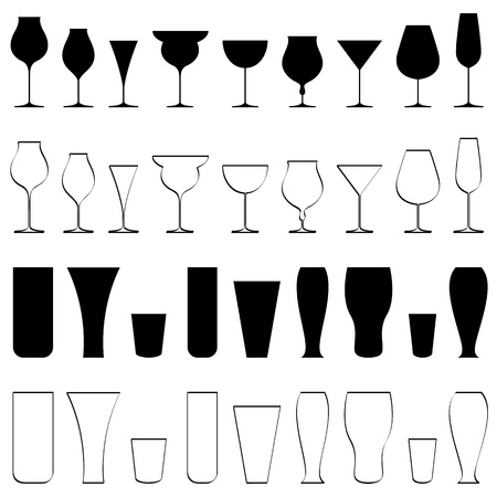 cocktail cold: illustration of set of glasses of different beverages on isolated background