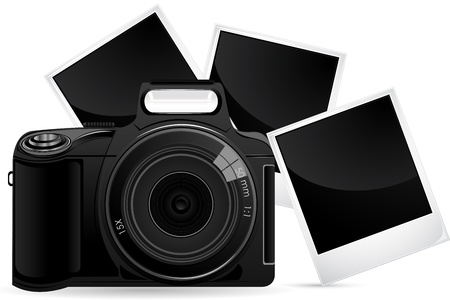 polarised: illustration of camera with photograph against white background
