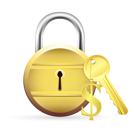illustration of gold lock with dollar key on white background Stock Vector - 9138037
