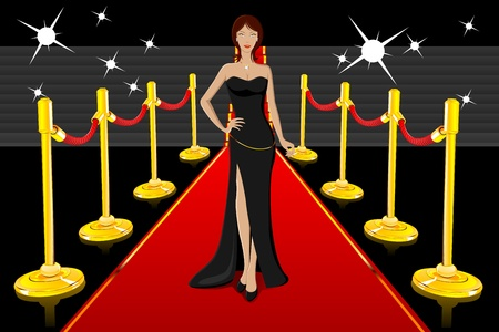 famous star: illustration of glamorous lady walking on red carpet