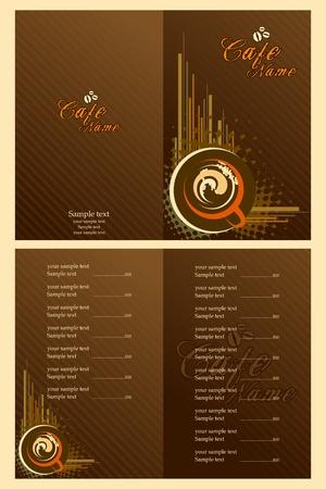 Ilustraci�n del conjunto de la plantilla de tarjeta de men� para caf�
