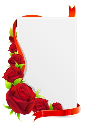 bunch of red roses: illustration of card with rose and roses on white background Illustration
