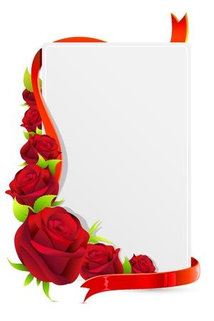 Ilustración de tarjeta con rosas sobre fondo blanco y Rosa