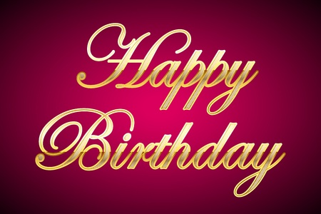 illustration of happy birthday in gold on abstract background Vector
