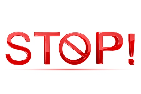 illustration of stop written with forbidden sign on white background Stock Vector - 9167306