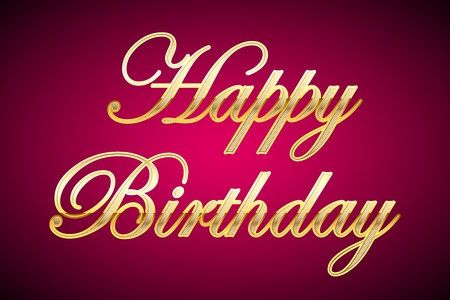 happy occasion: illustration of happy birthday in gold on abstract background