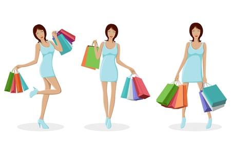 mujer feliz fondo blanco: Ilustraci�n de dama urbana permanente con bolsa de compras