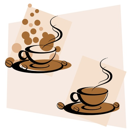 illustration of cup of hot coffee on abstract background