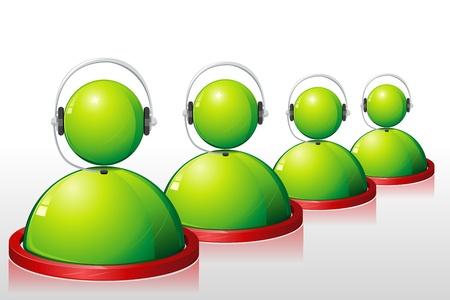 Ilustración del Ejecutivo de call center con auriculares