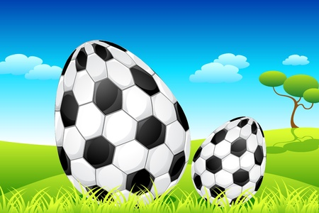 illustration of soccer ball decorated easter eggs on meadow