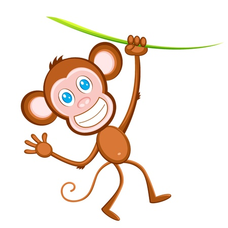 illustration of monkey hanging from tree on white background