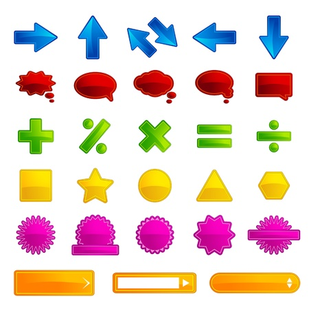 illustration of set of different type of button for web on white background Vector