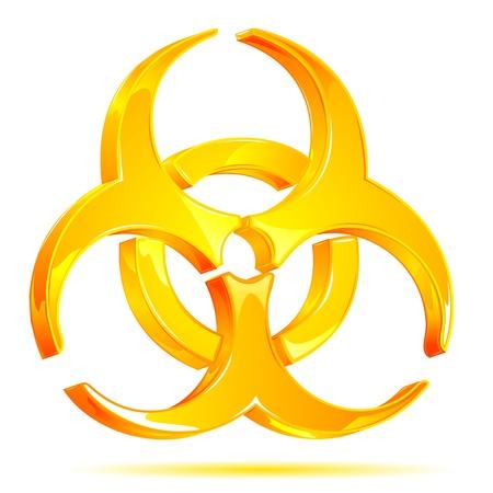 hazardous waste: illustrazione del simbolo di rischio biologico lucido su sfondo bianco