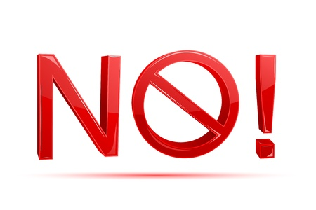 illustration of no written with forbidden sign on white background Stock Vector - 9167312