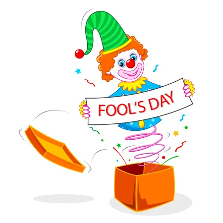 cartoon clown: illustration of joker wishing fools day poping out of gift box
