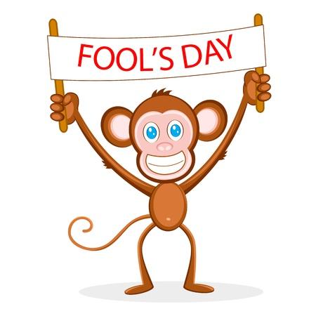 april: illustration of monkey holding fools day banner