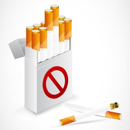 illustration of cigarette box with forbidden symbol illustration