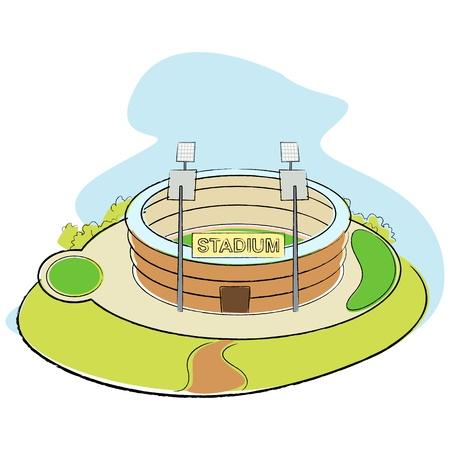 illustration of sport stadium on abstract background illustration