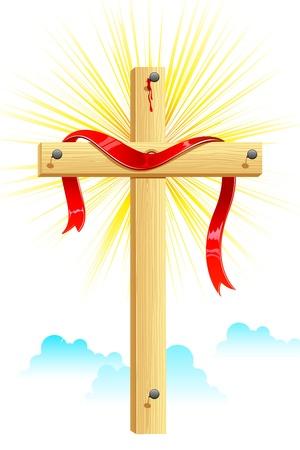 cruz de madera: Ilustraci�n de cinta envueltos en la Cruz de madera