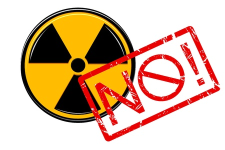 isotope: illustration of no with nuclear sign on white background