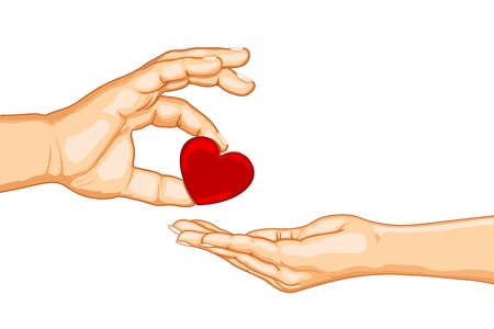 hand holding card: illustration of male and female handsgiving heart on isolated background