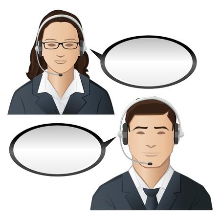 Ilustración del Ejecutivo masculino y femenino de call center Ilustración de vector