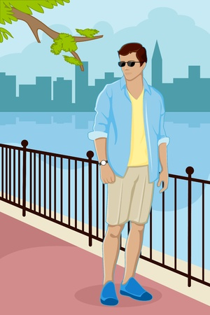 young man: illustration of trendy guy standing on street with city scape on background Illustration