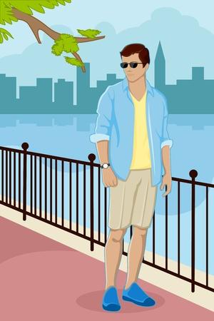 modelos posando: Ilustración de moderno guy permanente en la calle con el paisaje de la ciudad en segundo plano