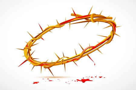 illustration of Crown of thorns with dripping blood Illustration