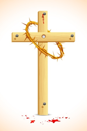 illustration of crown of thorns on wooden cross Stock Vector - 9167446