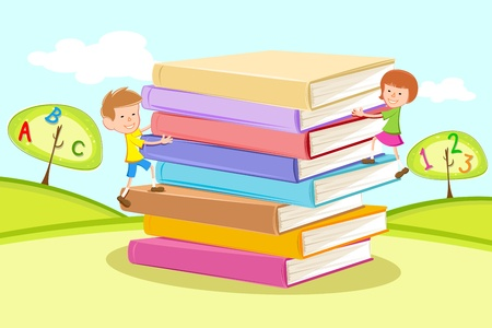 handbooks: illustration of kids climbing on pile of books in natural background Illustration