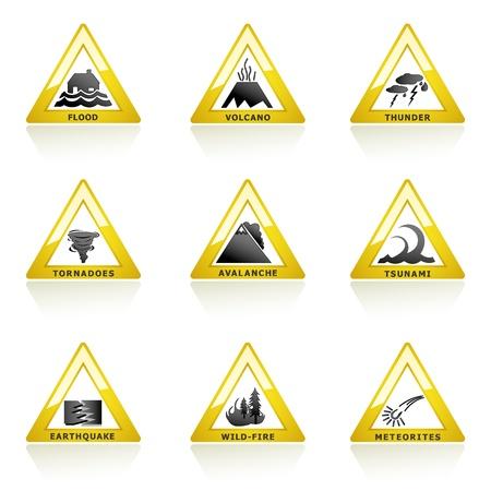 catastrophe: Illustration de l'ic�ne de catastrophe naturelle sur fond blanc Illustration