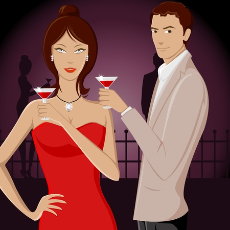 thin man: illustration of couple enjoying drink in party Illustration
