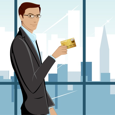 debit: illustration of man showing credit card with cityscape background