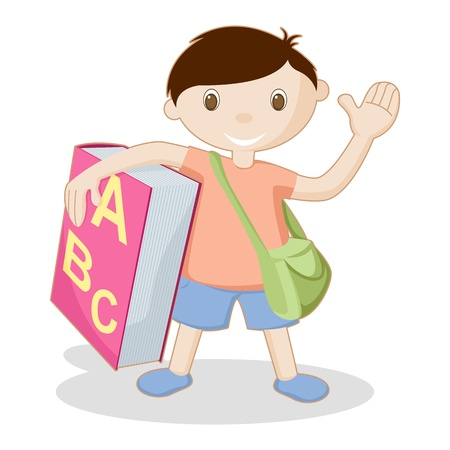 illustration of kid standing with book and school bag on white background Vector