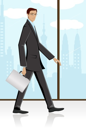 walking on hands: illustration of man walking with briefcase in corporate background